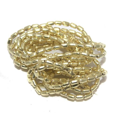 50 Gm Metal Hammered Round Tube Beads Golden 5x3 mm