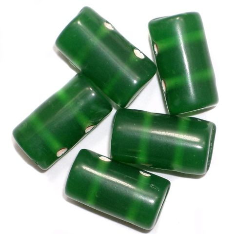 10 Spacer Tube Beads 2 Hole Dark Green 16x10mm