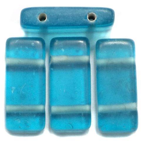 10 Spacer Ractangle Beads 2 Hole Aqua 24x10mm