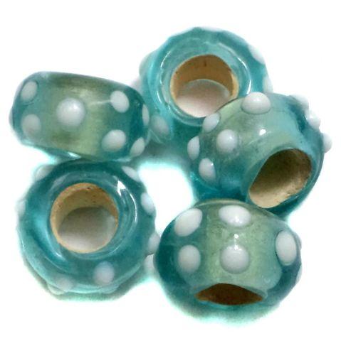 20 Pandora Beads Teal 8x14mm