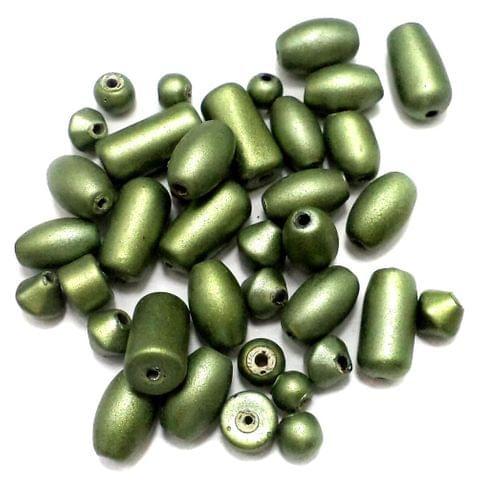 100+ Disco Beads Dark Olive Green 6-15mm