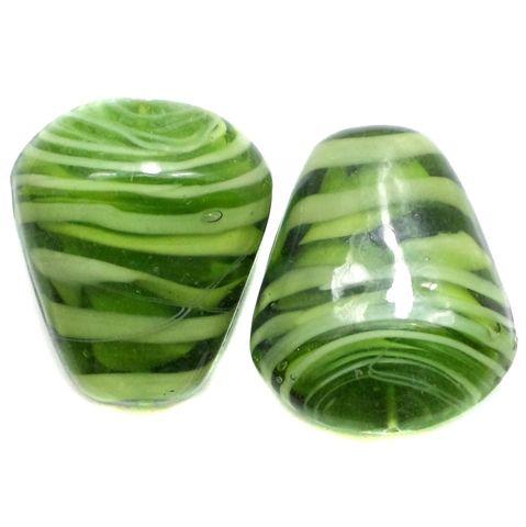 2 Lampwork Drop Beads Green 32x27x15mm