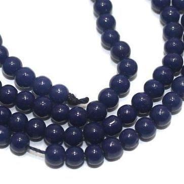 5 Strings of Jaipuri Round Beads Dark Blue 3mm