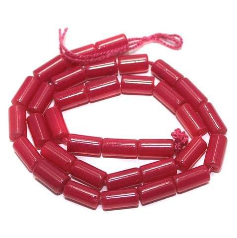 5 Strings of Jaipuri Tube Beads Pink 8x4mm