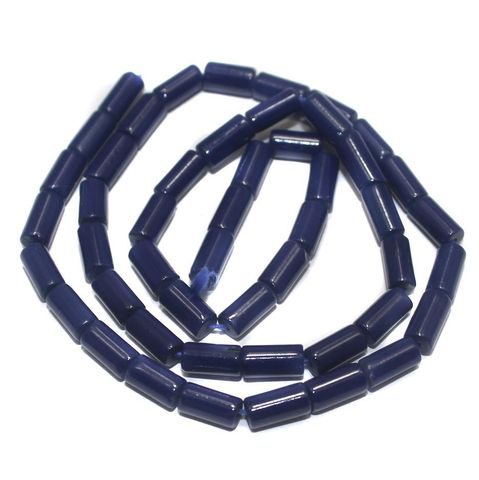 5 Strings of Jaipuri Tube Beads Blue 8x4mm