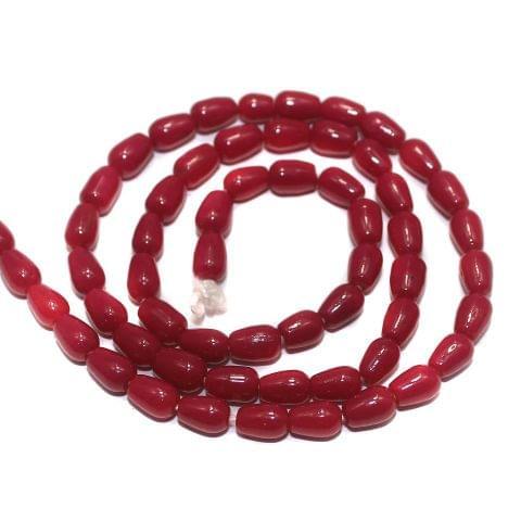 Jaipuri Beads Pink Drop 5 Strings 6x4mm