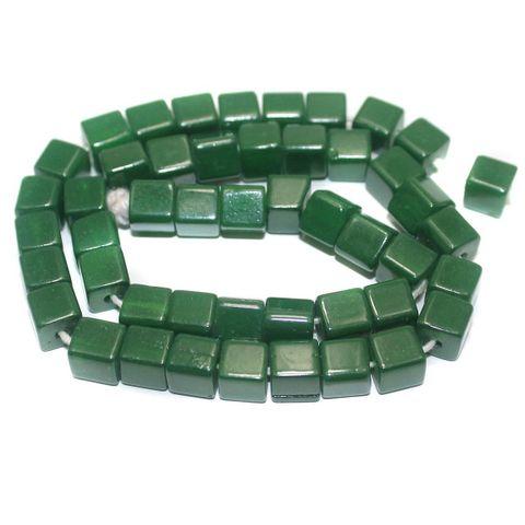 5 Strings of Jaipuri Cube Beads Green 8mm