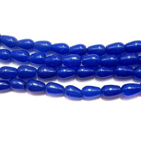 5 Strings of Jaipuri Drop Beads Blue 6x4mm