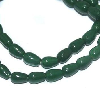 5 Strings of Jaipuri Drop Beads Light Green 6x4mm