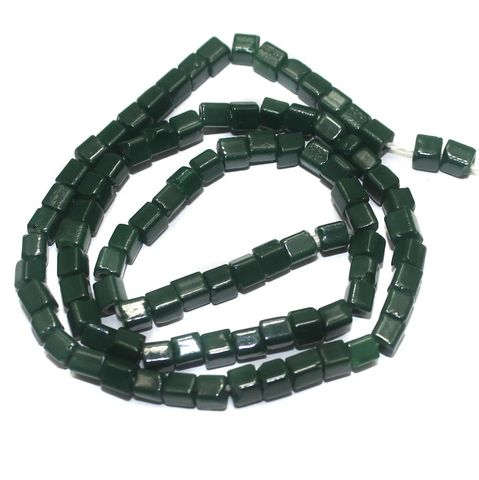 5 Strings of Jaipuri Cube Beads Green 4mm