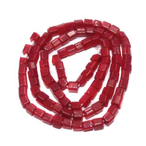 5 Strings of Jaipuri Cube Beads Red 4mm