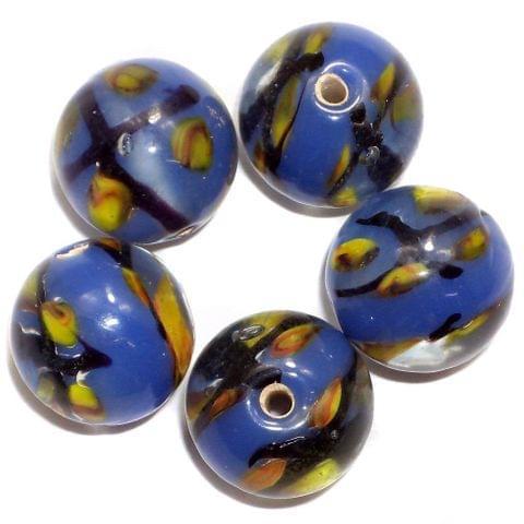20+ Fancy Beads Round Inside Dark Blue 14mm
