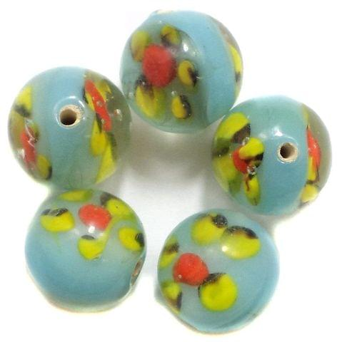 24 Fancy Beads Round Inside Turquoise 14mm