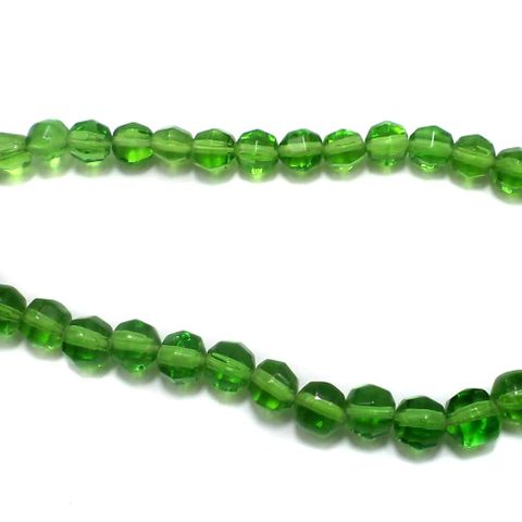 5 Strings Football Glass Round Beads Green 8mm