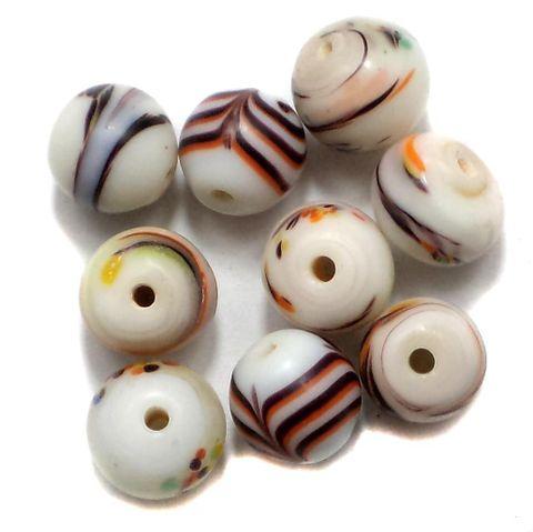 225+ Fancy Beads Round White 8-12mm