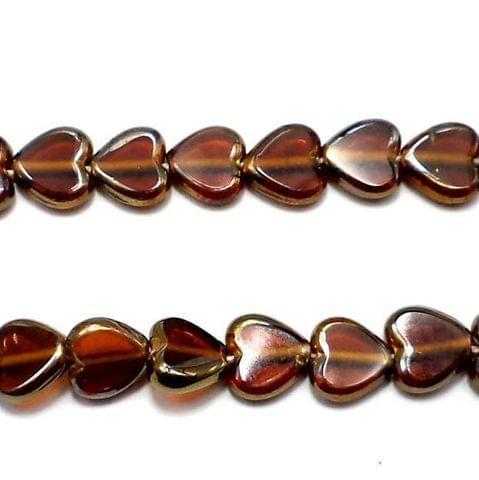 30+ Window Metallic Lining Heart Beads Brown 10mm