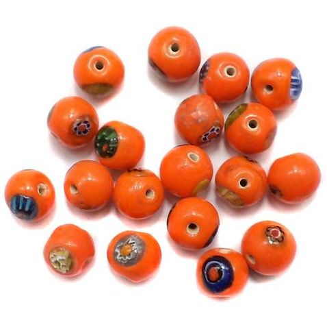 45+ Chevron Round Chip Beads Orange 10mm