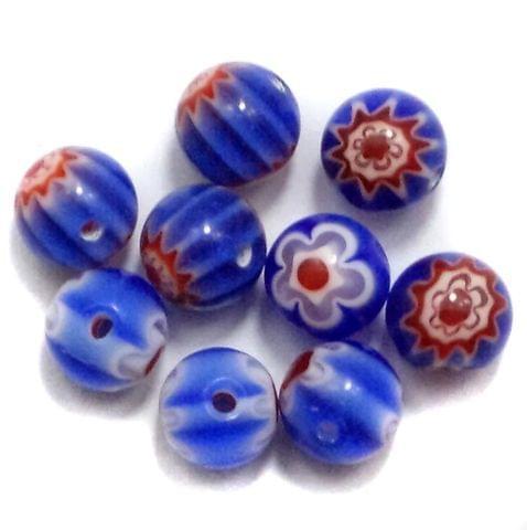 100 Chevron Round Beads Blue 8mm