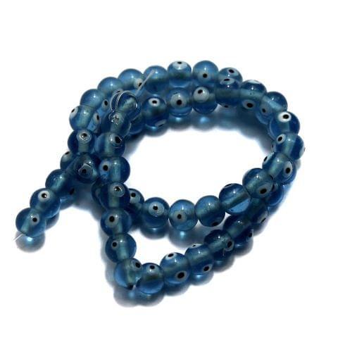 5 strings of Evil Eye Glass Round Beads Light Blue 8mm