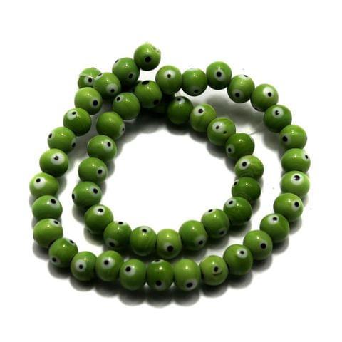 5 strings of Evil Eye Glass Round Beads Peridot 8mm