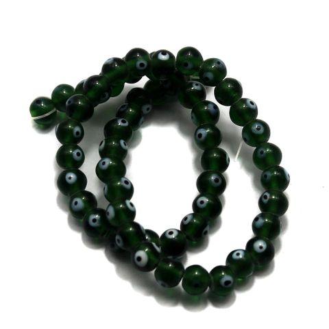5 strings of Evil Eye Glass Round Beads Dark Green 8mm