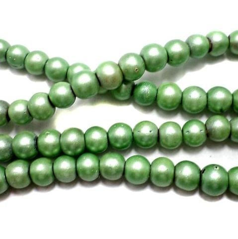 5 Strings Disco Beads Round Green 6 mm
