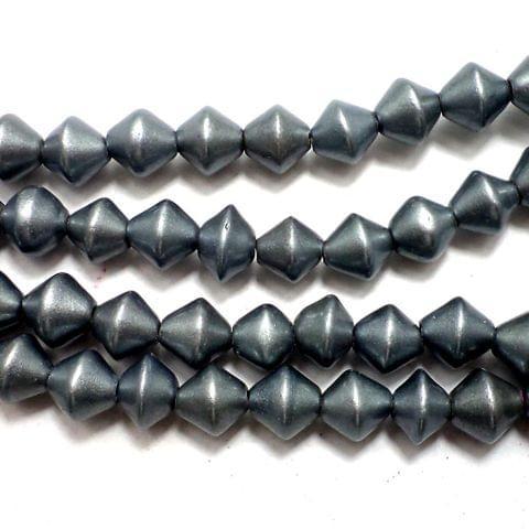 5 Strings Disco RONDELLE Beads Grey 8 mm