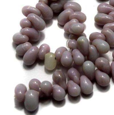 5 strings of Glass Drop Beads Purple 10x6mm