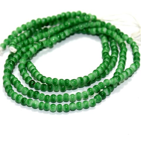 5 Strings Glass Round Beads Green 3mm