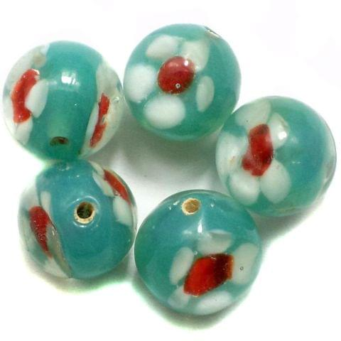 9 Fancy Beads Round Inside Teal 14mm