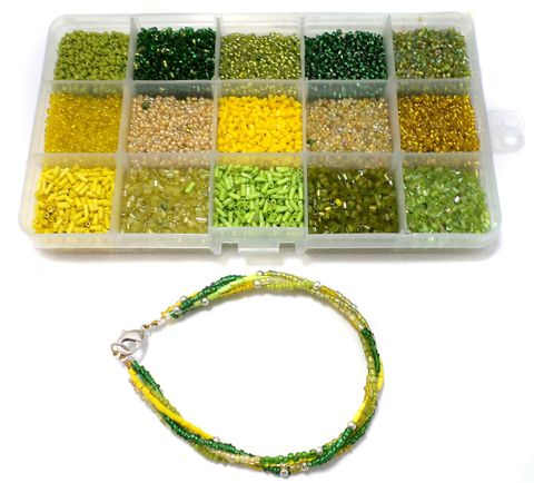 Jewellery Making DIY Seed Beads Combination Of Green & Yellow Kit[15 Colors]