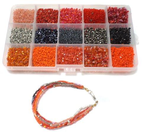 Jewellery Making Seed Beads Fire Red Colors Kit[15 Colors]