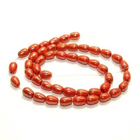 5 strings Glass Drop Beads Orange 6x8mm