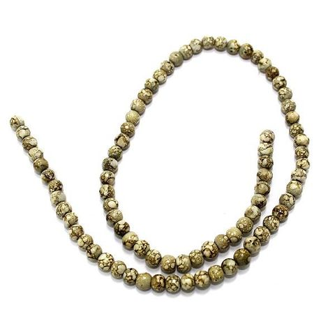 5 Strings Marble Round Beads Olive Green 5mm