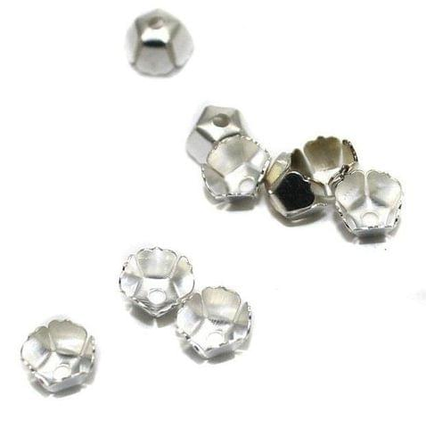 250 Metal Bead Caps Silver 8x5mm