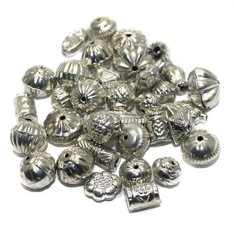 100 Metal Sheet Beads Silver 8-15mm