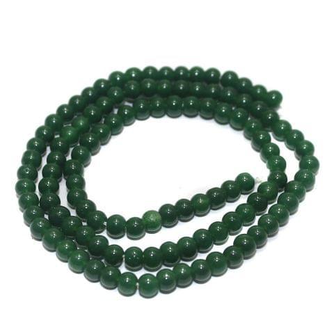 5 Strings of Jaipuri Round Beads Green 3mm