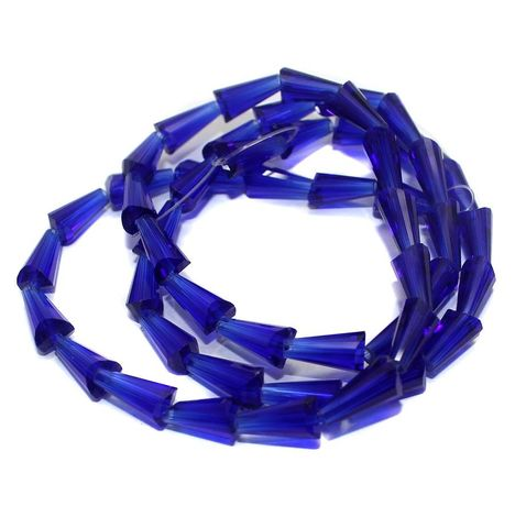 50+ Crystal Cone Beads Blue12x6mm