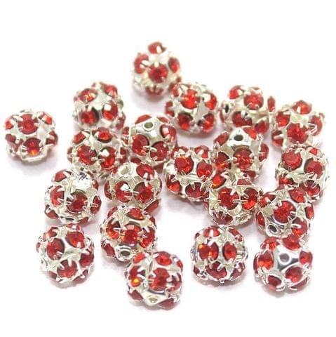 50 Pcs. Rhinestone Beads Red 8 mm