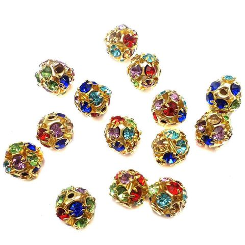 20 Rhine Stone Round Beads Multi Color 8mm