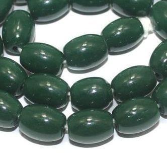 5 Strings of Jaipuri Oval Beads Dark Green 12x8mm