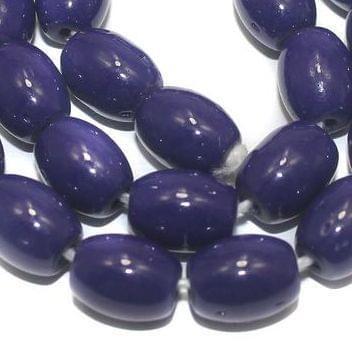 5 Strings of Jaipuri Oval Beads Dark Blue 12x8mm