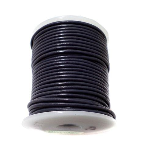 Leather Cord Black For Jewellery Making, Size 2 mm, Pack of 25 mtr