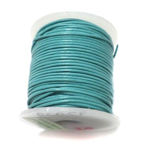 Leather Cord Turquoise For Jewellery Making, Size 1 mm, Pack of 25 mtr