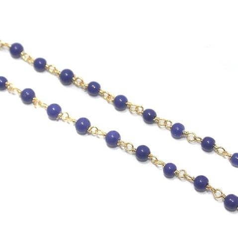 Jewellery Making Glass Beads Chain 3mm Blue, Pack Of 5 Mtrs