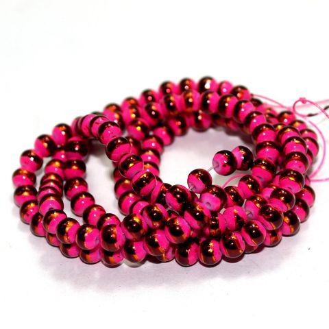 1 String Glass Round Beads Meganta 6mm