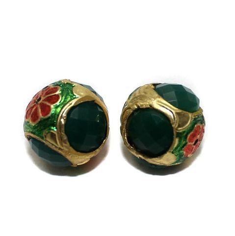 2 Jadau Round Beads Green 16mm