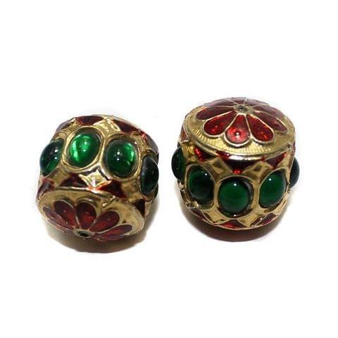 4 Jadau Beads Green 22mm
