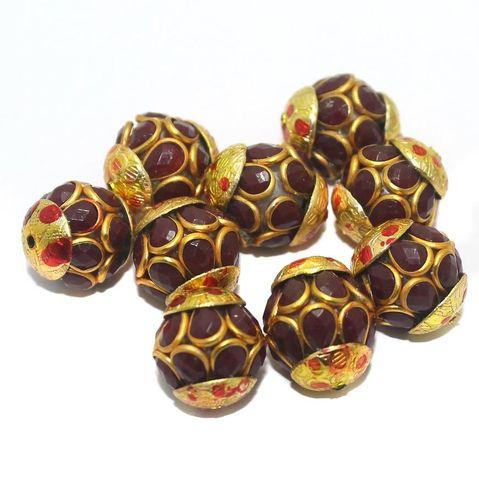Pacchi Round Beads 15x12mm Red