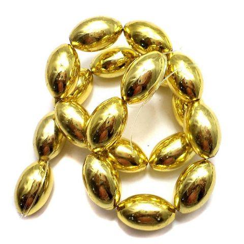 5 Strings Metallic CC Oval Beads Golden 20x12 mm
